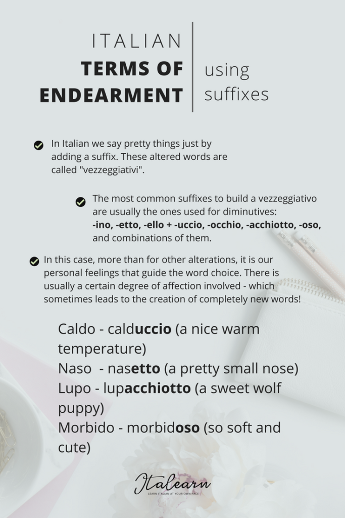 Italian Terms Of Endearment Infographic Italearn