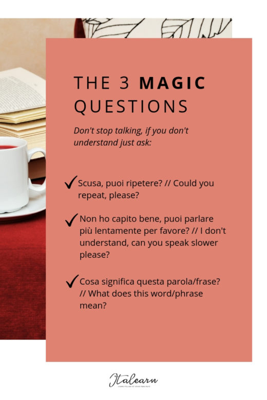 The 3 magic questions - what to do when no one speaks the italian you learned in class - italearn.com