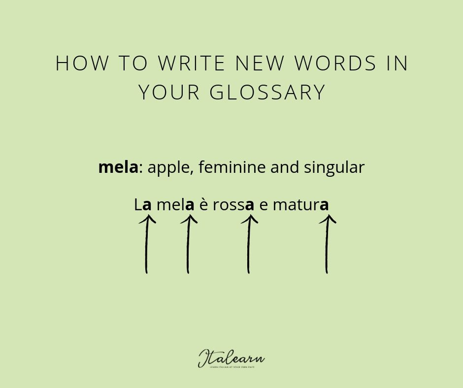 HOW TO WRITE NEW WORDS IN YOUR GLOSSARY - italearn.com