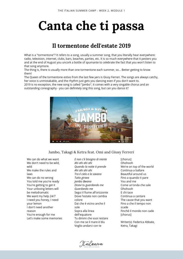 Italian summer camp - tormentone -free sample - italearn.com