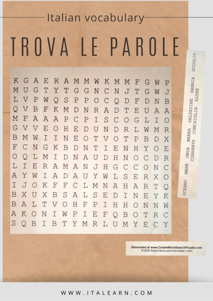 Italian vocabulary: search words puzzle. The sea. By Silvia | Italearn