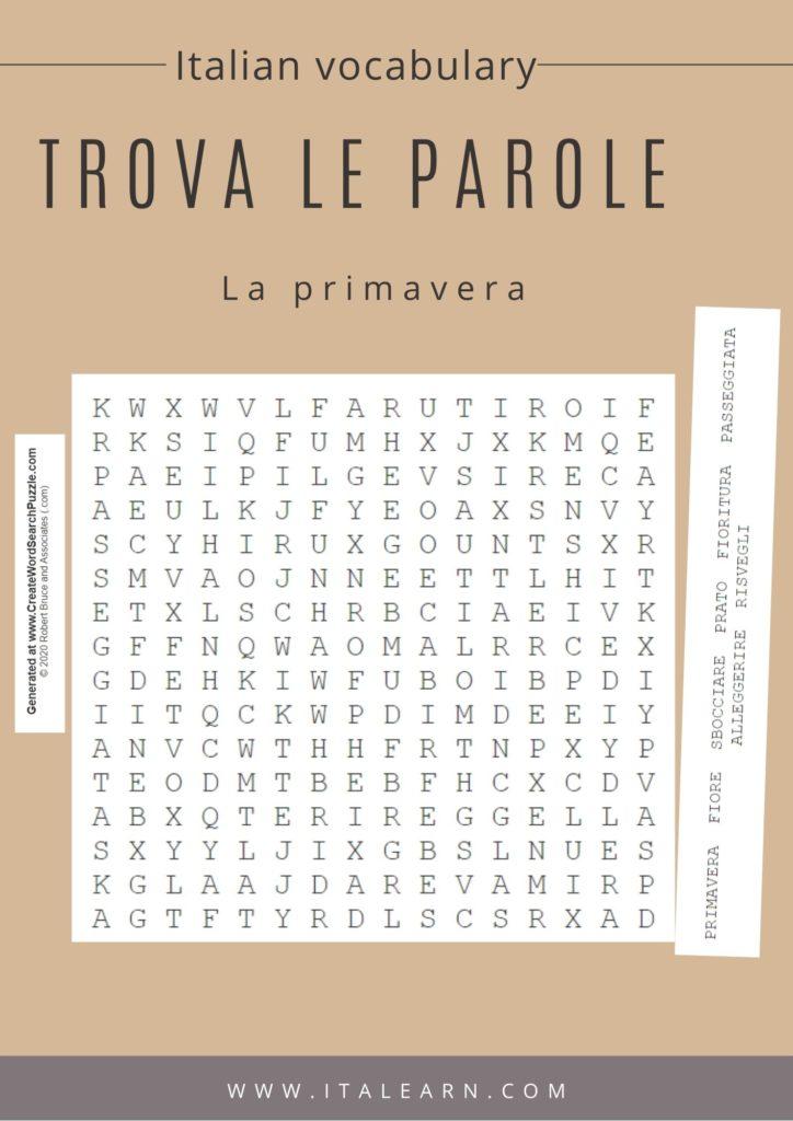 Italian vocabulary_ search words puzzle. La primavera. By Silvia Perrone | Italearn